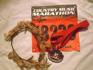 My laurel wreath and first marathon medal