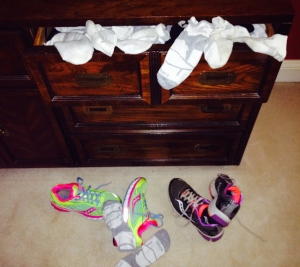 My overflowing running sock drawer