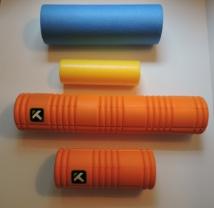 (top to bottom) Pro-Tech Foam Roller (full and travel sizes), the Grid (full and travel sizes)