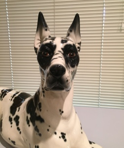 A life-sized Great Dane porcelain figure with the scariest eyes