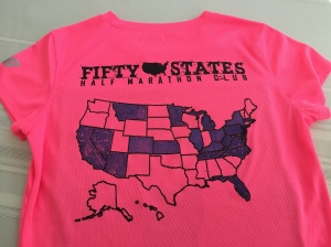 My 50 State Half Marathon shirt showing the states that I have completed