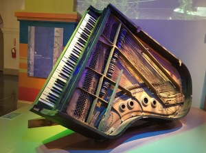 Fats Domino's piano - as it was found in his Lower 9th Ward home, upended