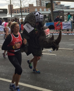 One of the many runners dressed as a rhino