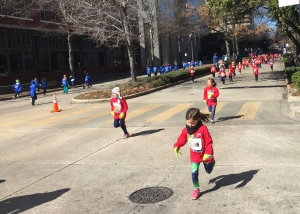Young runners in Birmingham - each grade level wore different colored shirts