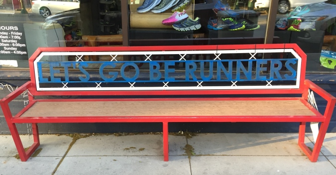 Bench outside Fleet Feet store in Coeur d'Alene