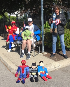 Super Hero corner along the Coeur d'Alene race course