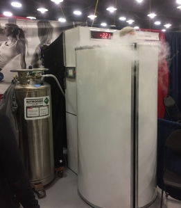 A runner getting cryotherapy at the Expo